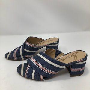 fb1336eb7 Sam Edelman Shoes - Sam Edelman Denim Stanley Block Heel Mule Sandal